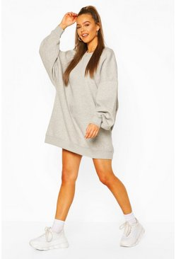 Grey marl Extreme Oversized Crew Neck Sweat Dress