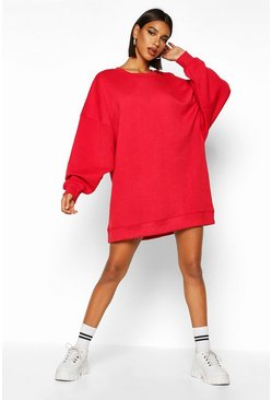 Red Extreme Oversized Crew Neck Sweat Dress