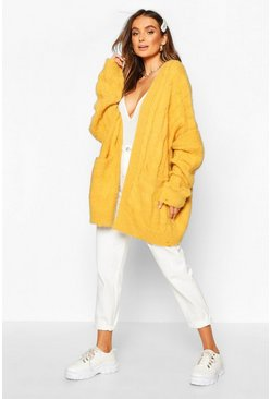 Womens Mustard Oversized Cable Knit Fluffy Boyfriend Cardigan
