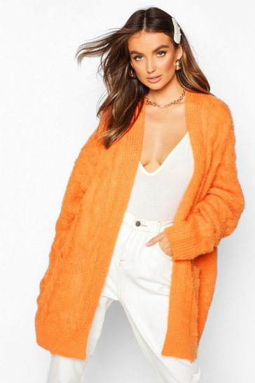 Orange Oversized Cable Knit Fluffy Boyfriend Cardigan