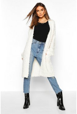 Womens Cream Teddy Knitted Oversized Boyfriend Knit