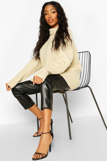 Womens Cream Roll Neck Knitted Jumper
