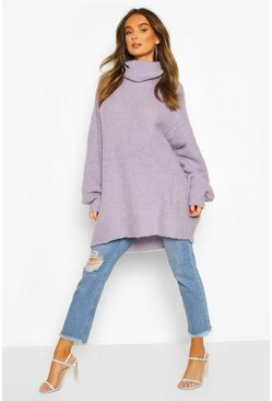 Womens Lilac Oversized Chunky Roll Neck Knit Jumper