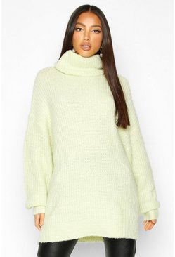 Womens Washed lime Oversized Chunky Roll Neck Knit Jumper