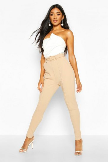 Womens Stone Tailored Skinny Self Belt Trousers