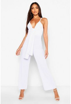 Womens White Ribbed Drape Knot Plunge Jumpsuit