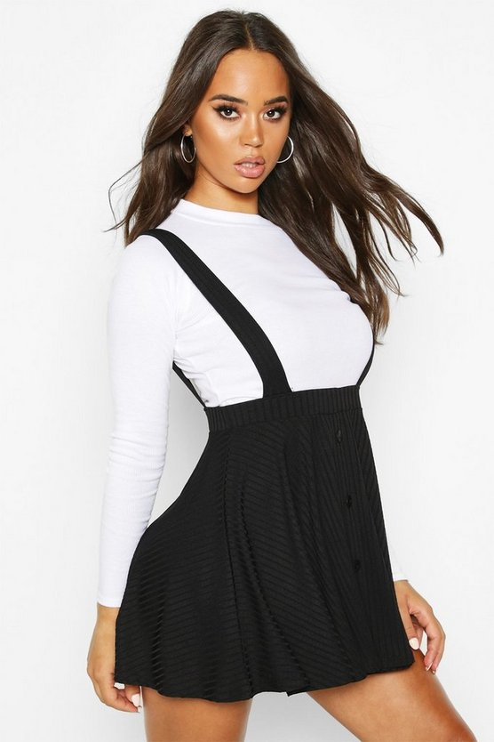 Button Ribbed Pinafore Skirt