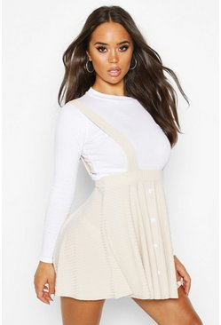 Womens Stone Button Ribbed Pinafore Skirt