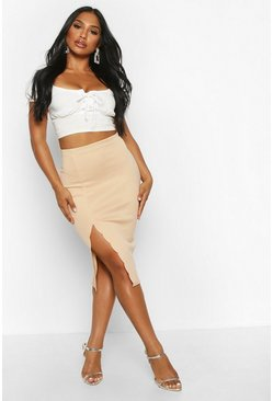 Womens Sand Scallop Detail Thigh Split Midi Skirt