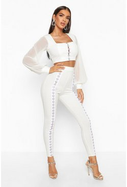 Womens Ivory Hook & Eye Detail Skinny Trouser
