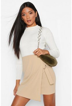 Stone Wrap Front D-Ring Mini Skirt