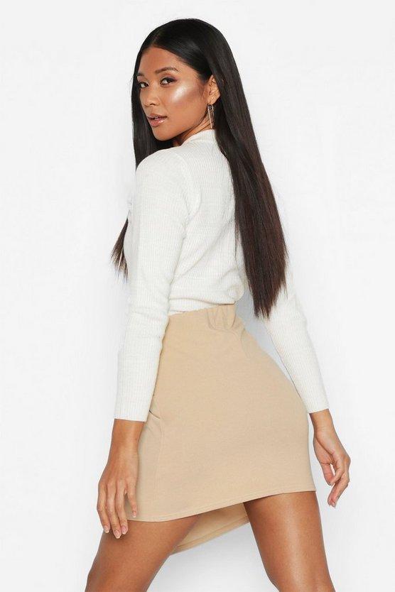 Wrap Front D-Ring Mini Skirt
