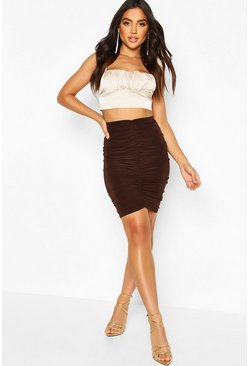 Chocolate All Over Ruched Mini Skirt