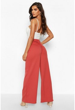 Rose Ruched Bum Ribbed Wide Leg Trousers