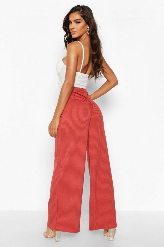 Ruched Bum Ribbed Wide Leg Trousers