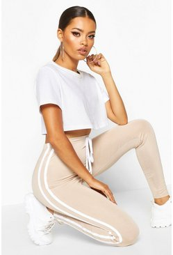 Stone Tie Detail Sports Stripe Leggings