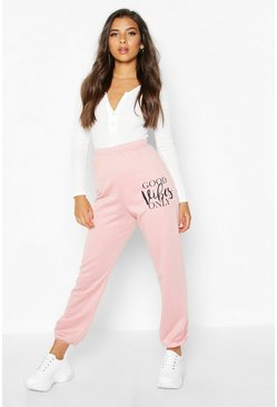 "Jogginghose mit ""Good Vibes Only"" Slogan, Rosé, Damen"