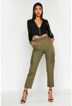 Khaki D-Ring Cargo Pocket Woven Pants