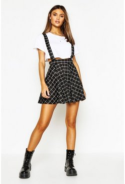 Womens Black Grid Check Pinafore Skirt