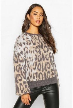 Womens Camel Oversized Leopard Fluffy Knit Jumper