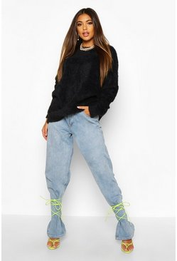 Womens Black Oversized Fluffy Knit Jumper