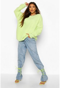Womens Washed lime Oversized Fluffy Knit Jumper