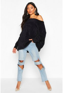 Womens Black Oversized Off The Shoulder Fluffy Knit Jumper