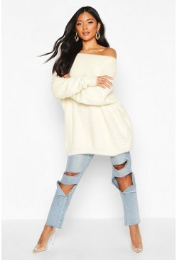 Womens Cream Oversized Off The Shoulder Fluffy Knit Jumper