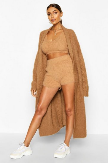 Toffee Premium Fluffy Knit Maxi Cardigan