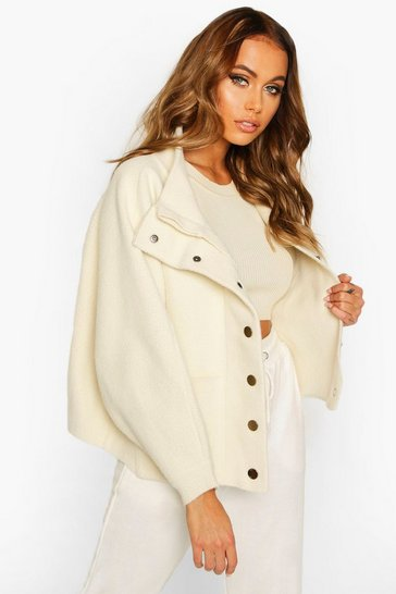 Womens Cream Premium Heavy Knitted Bomber