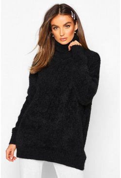 Womens Black Oversized Fluffy Feather Knit Jumper