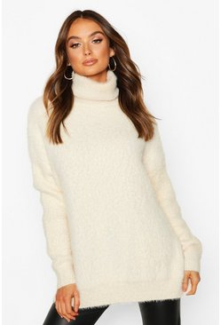 Womens Cream Oversized Fluffy Feather Knit Jumper