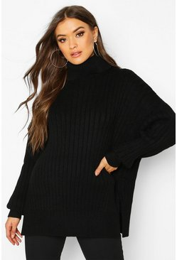 Womens Black Oversized Premium Rib Knit Boyfriend Jumper