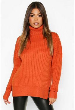 Womens Burnt orange Oversized Premium Rib Knit Boyfriend Jumper