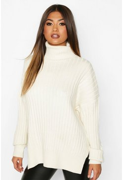 Womens Cream Oversized Premium Rib Knit Boyfriend Jumper