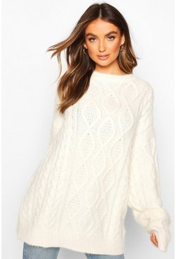 Womens Cream Oversized Cable Fluffy Knit Boyfriend Jumper