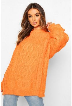 Womens Orange Oversized Cable Fluffy Knit Boyfriend Jumper