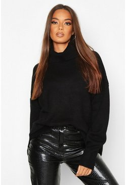 Black Premium Oversized Roll Neck Jumper