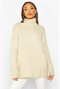 Cream Premium Oversized Roll Neck Sweater