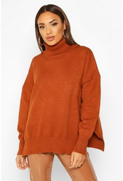 Womens Toffee Premium Oversized Roll Neck Jumper