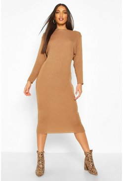 Womens Toffee Rib Knit Batwing Knitted Midi Dress