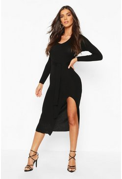 Womens Black Rib Knit Tie Waist Midi Dress