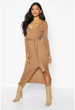 Womens Toffee Rib Knit Tie Waist Midi Dress