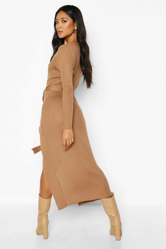 Rib Knit Tie Waist Midi Dress
