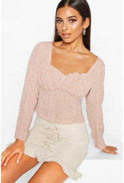 Womens Rose Ditsy Print Long Sleeve Peplum Top