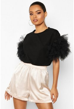 Womens Black Organza Ruffle Sleeve T-Shirt