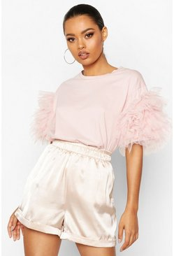 Womens Blush Organza Ruffle Sleeve T-Shirt