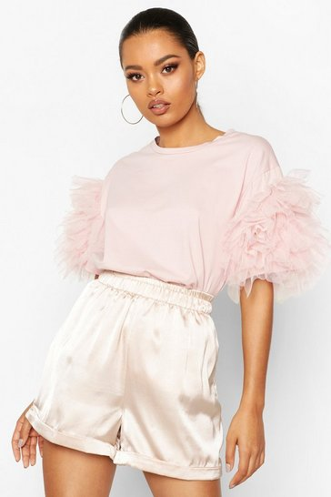 Blush Organza Ruffle Sleeve T-Shirt