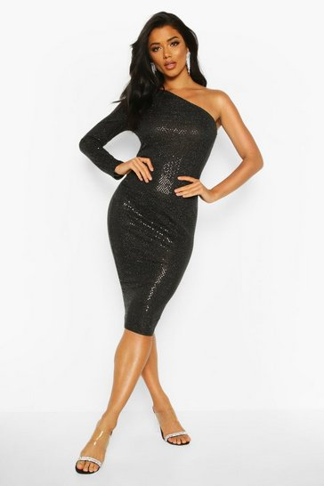 Black Sequin One Shoulder Midi Dress