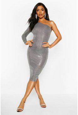 Womens Pewter Sequin One Shoulder Midi Dress